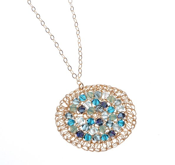 Gold filled necklace with Swarovski crystals [N1014B]