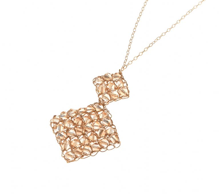 Gold filled necklace with Swarovski crystals [N-5980]