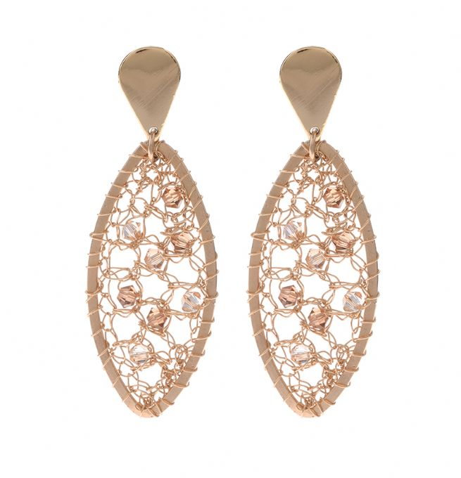 Gold filled earrings with Swarovski crystals [E-6731]
