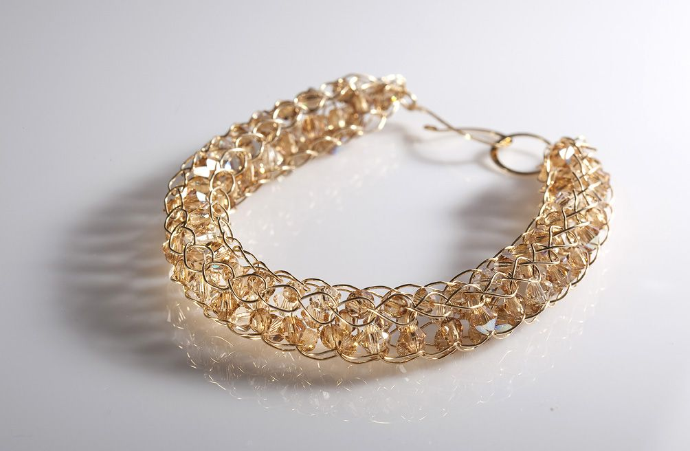 Gold filled bracelets  with Swarovski crystals [B2165]