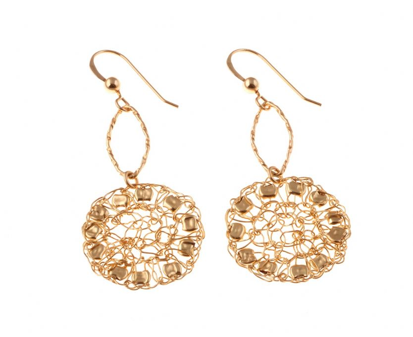 Gold filled earrings with goldfiled beads [E41541]