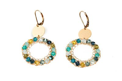 Gold filled earrings with discs Swarovski crystals [E4422]