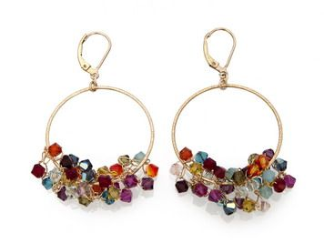 Gold filled hoop earrings with Swarovski crystals [E495]