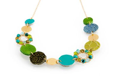 Gold filled Marine necklace combining leather discs and Swarovski crystals - Inspired by the Autumn sea [N1955]