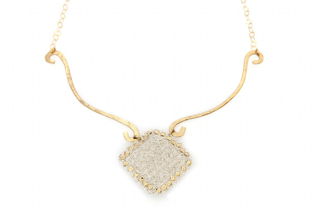 Gold filled necklace with silver [N5153]