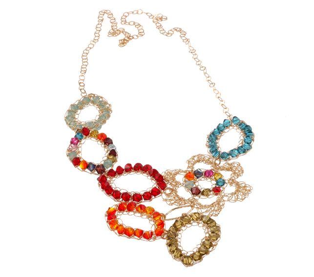 Gold filled necklace with Swarovski crystals [N598]